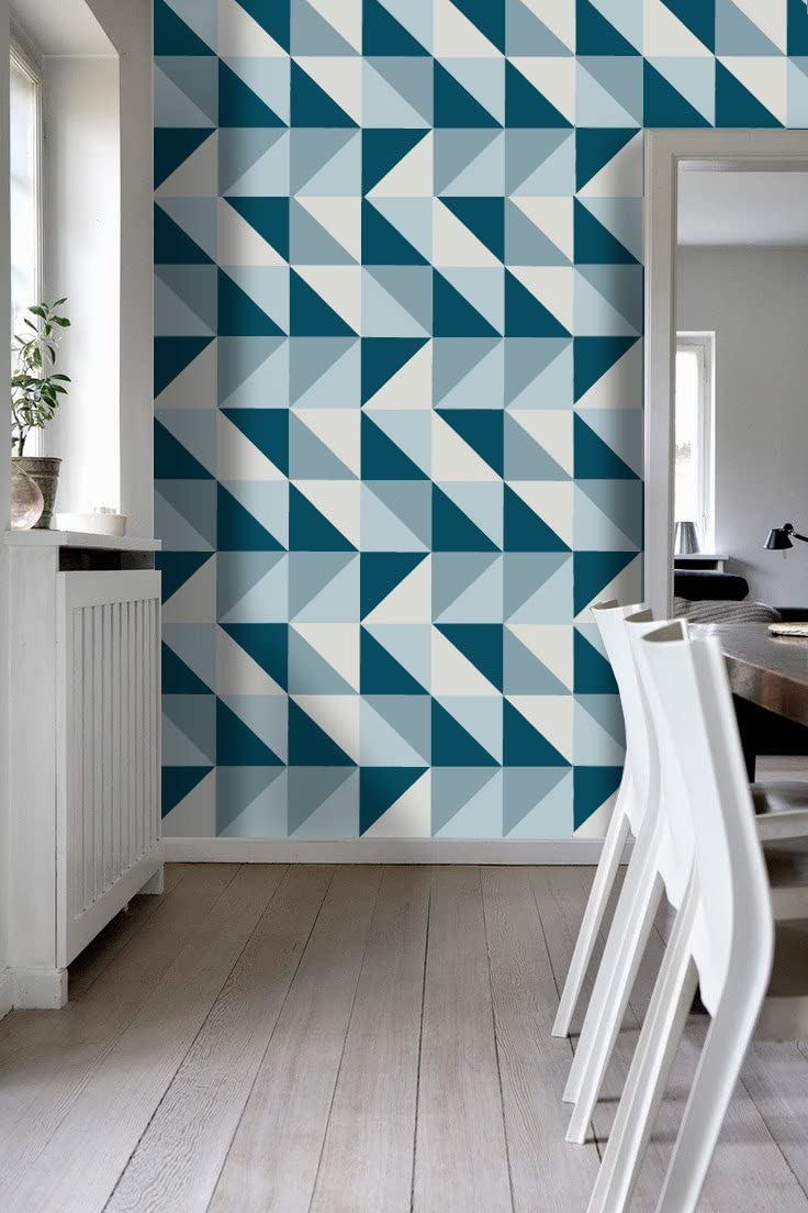 Amazon Com Tiles Stickers Decals Packs With 56 Tiles 5 9 X 5 9 Inches Wall Tiles Mid Century Modern On Kitchen Decor Stickers Refresh Blue Backsplash Ideas Home Kitchen