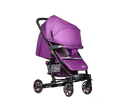 XnZLXS-Cochecitos La Carretilla Infantil púrpura Ligera Plegable Alta Paraguas del Paisaje del Coche Multifunción