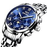 KINYUED Men Watch Mechanical Automatic Skeleton Tourbillon Dial with Day Date Month Calendar Steel Band