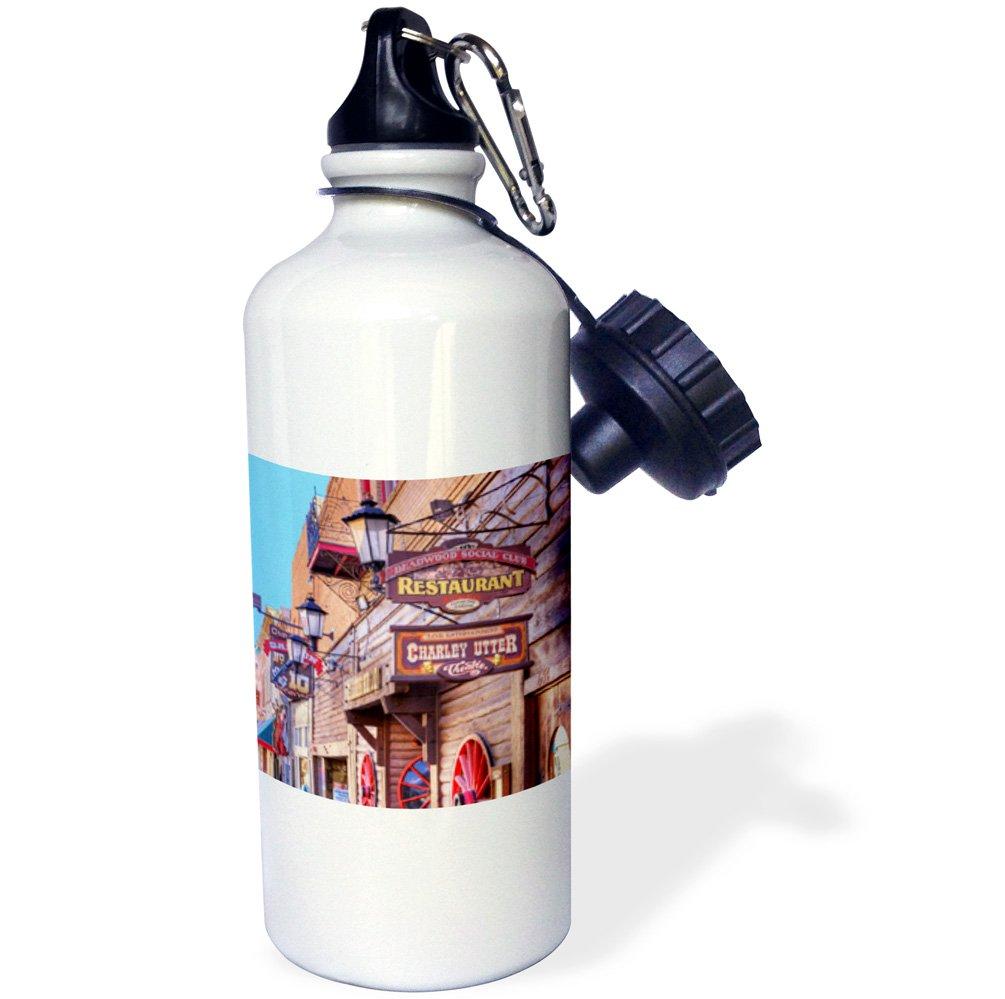 White South Dakota Western-US42 JWI0017-Jamie and Judy Wild Sports Water Bottle gold town 3dRose wb/_146482/_1USA Deadwood 21 oz