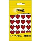 Adesivo Stick Coração Vermelho Pimaco BIC, 947829, 5 Folhas, 100 Etiquetas