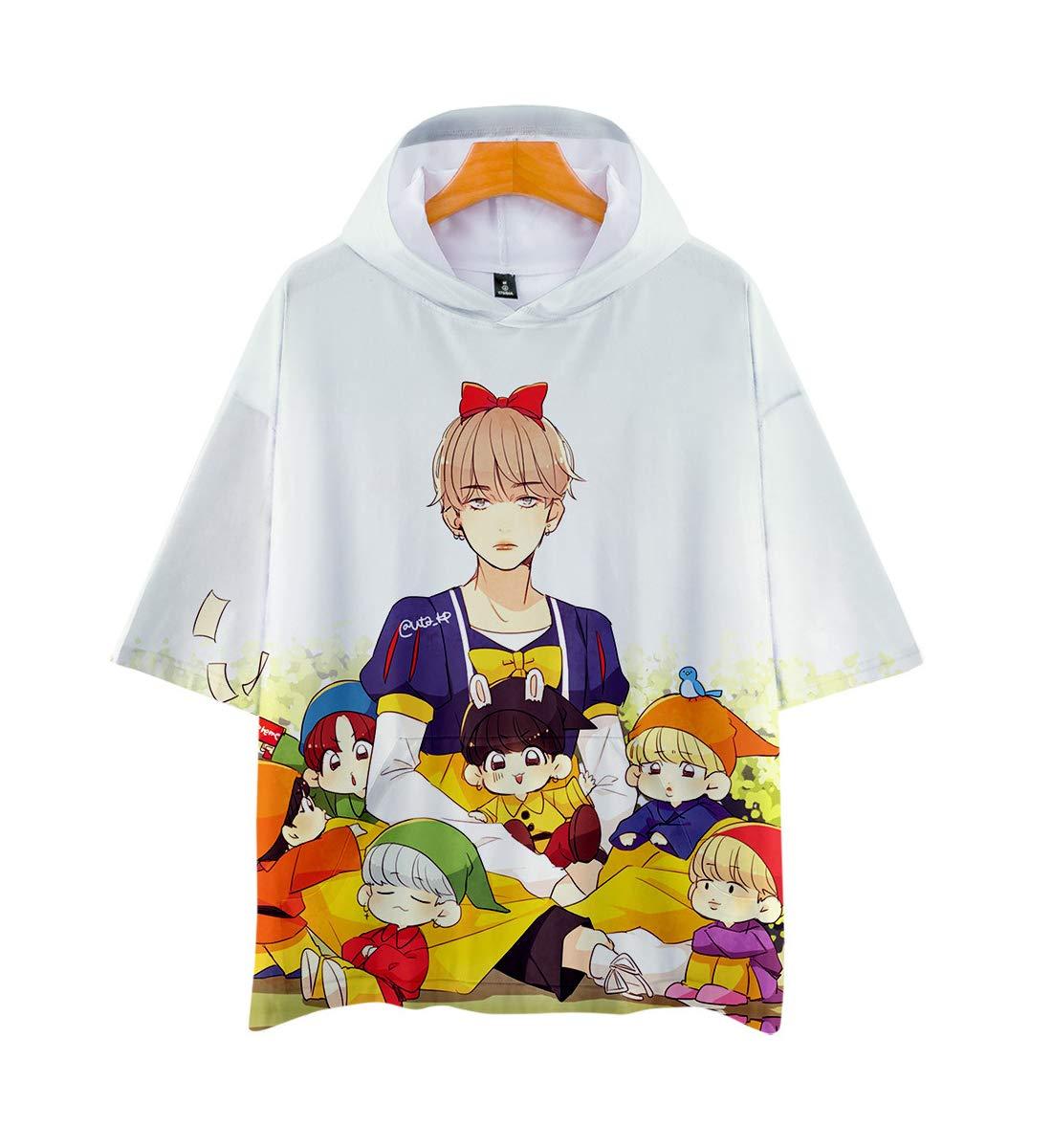 Unisex BTS 3D Hoodie Short Sleeve T-Shirt for Men Women Teen Bangtan Boys Jin Suga J-Hope RM Jimin V Jung Kook Summer Tops Sweater Pullover Jackets