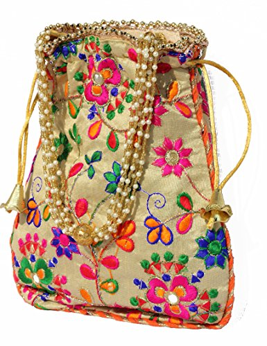 TRIBESMANGOLD--Traditional Satin Jaipuriya Style Potli Bag for Women & Girls by TRIBESMANGOLD