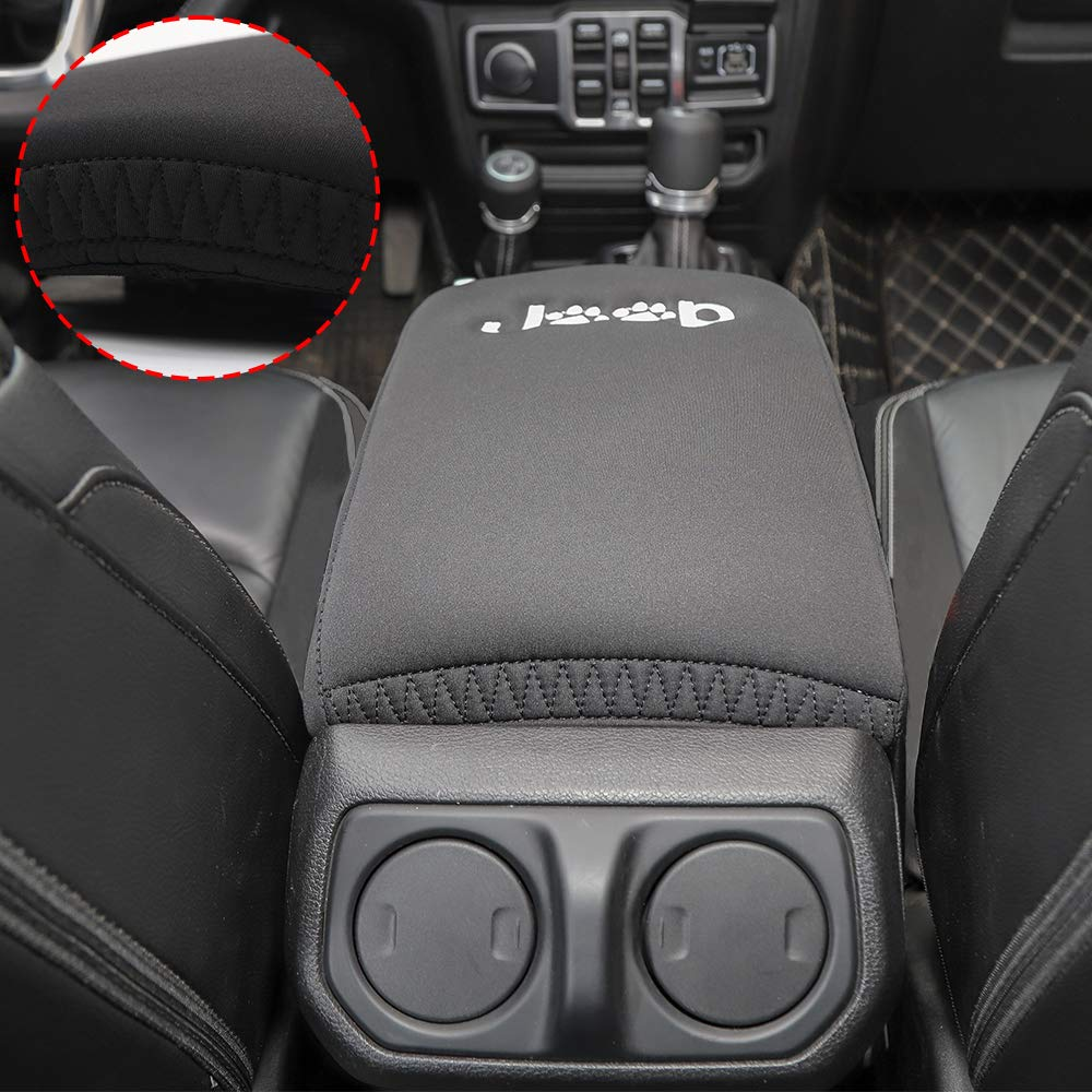 Dog Paws Print Logo Savadicar Center Console Cover Armrest Pad for 2018-2019 Jeep Wrangler JL JLU /& 2020 Jeep Gladiator JT Trunk Interior Accessories Black