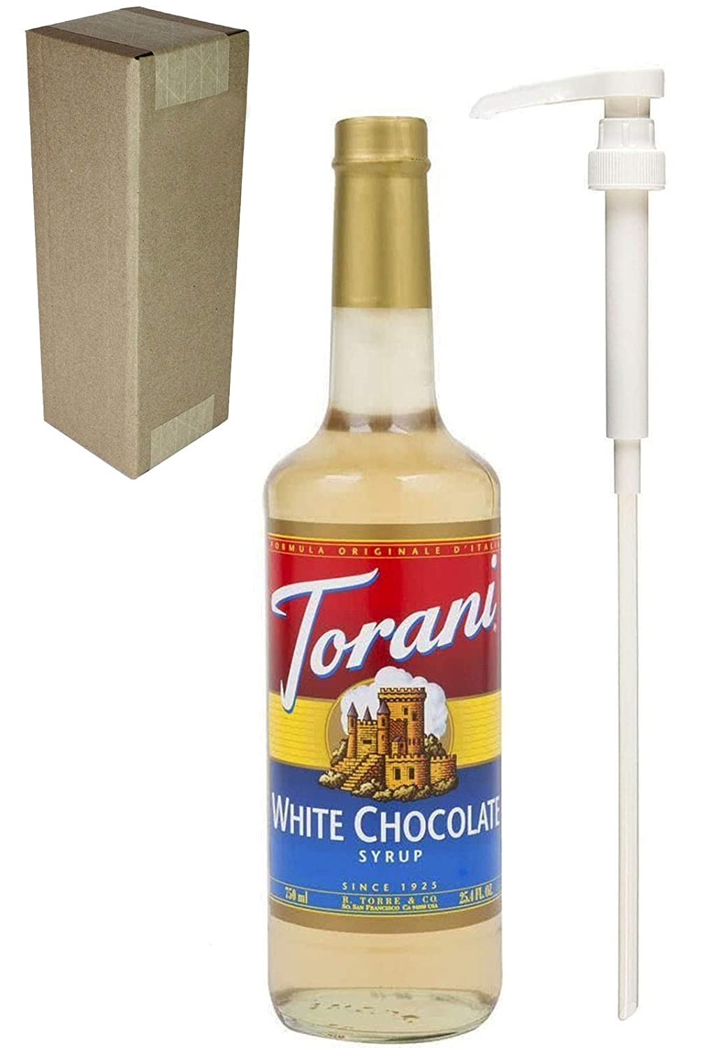 Torani White Chocolate Flavoring Syrup, 750mL (25.4 Fl Oz) Glass Bottle, Individually Boxed, With White Pump