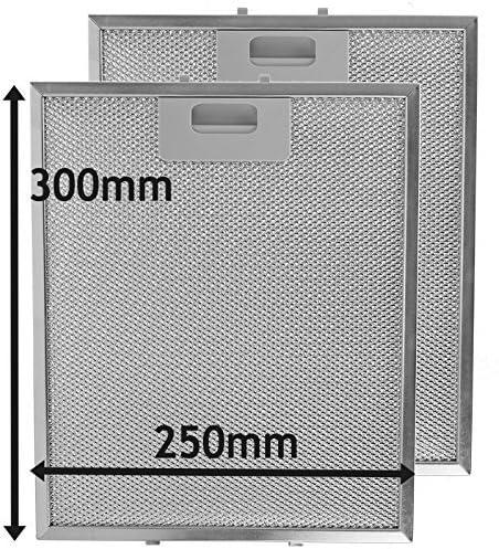 SPARES2GO Malla Metálica Filtro para Bosch Neff Siemens Campana Extractora / Cocina Extractor Ventilación (Pack de 2 Filtros, Plata, 300 x 250 mm): Amazon.es: Hogar