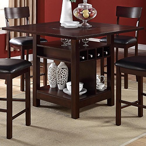 Benzara BM171299 Wooden Counter Height Table with Storage Shelves, Brown