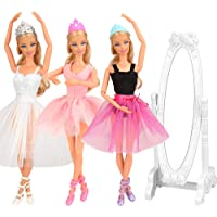 Barwa 10 Accessories for 11.5 Inch 30 cm Dolls: 3 Ballerina Dresses (White + Pink + Purple Black) + 3 PCS Ballerina…