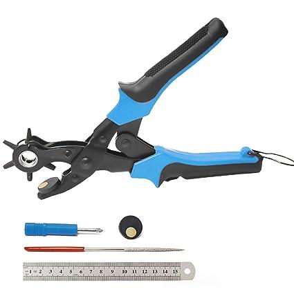 Qstyle Alicate Sacabocados Punzones de Agujero para Cinturones y Cuero Con 6 Orificios Intercambiables, Puntas