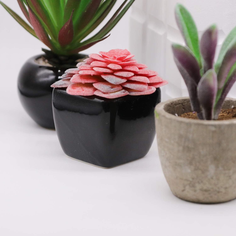 Faux succulents Fake plants Plastic greenery 14 pcs Pink artificial succulents