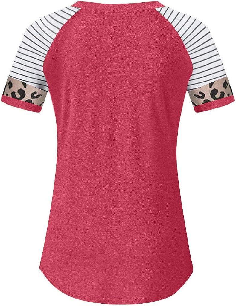 QUZUWE Women Short Sleeve T Shirts Plus Size Work Casual Fashion Letter Print Leopard Stripe Tunics Tops Blouse