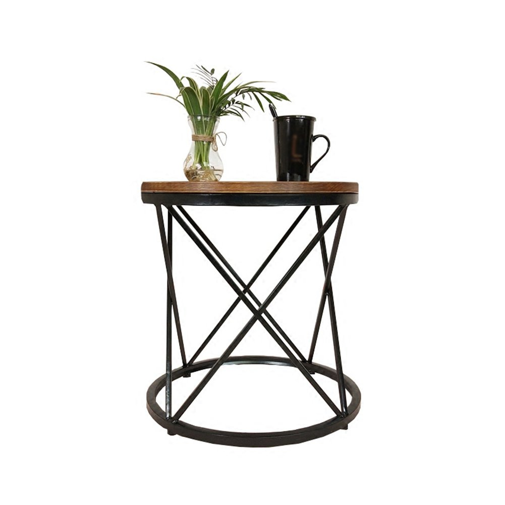 A CSQ   2, Coffee Table, Side Table, Sofa Side Table Nightstand Computer Table Solid Wood Panel Iron Material Shelf 45-50cm Tea Table (Size   A)