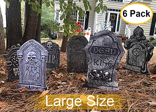 Plastic Tombstones Halloween (Halloween Yard Signs Tombstone Yard Stakes Gravestone Yard Sign Stake for Headstone decorations Halloween Decor Outdoor Lawn Decorations 6 Pack Tombstone Halloween Yard Decor for Graveyard Scary)