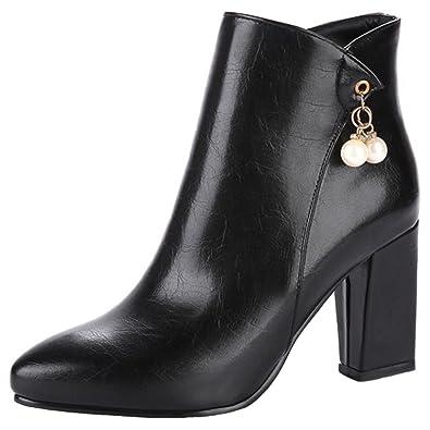 fee19374fce Mofri womens dressy pendant side zipper ankle booties pointed toe chunky  high heel short boots jpg