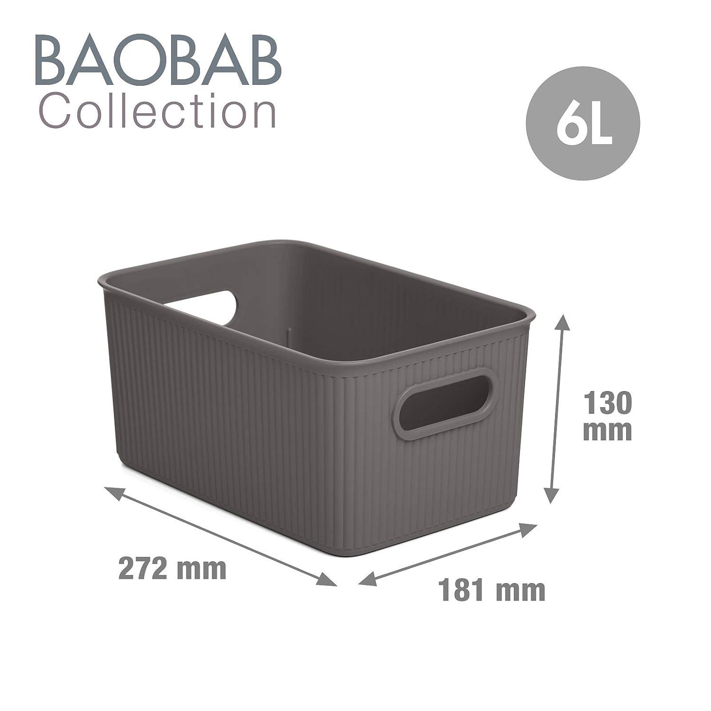 Resistentes y Ergon/ómicas PracticDomus Pack de 3 Cestas de Ordenaci/ón Multiusos Tatay Baobab Collection Color Blanco Pergamon Tama/ño 16L con Tapa y Dos de 6L