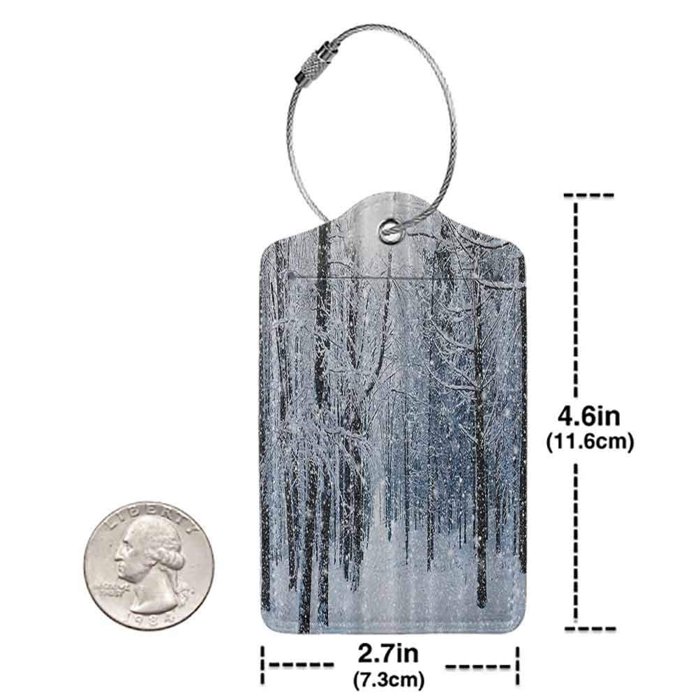 Flexible luggage tag Forest Winter Snow on Trees Fashion match Blue and White W2.7 x L4.6