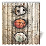 InterestPrint Sports Decor Shower Curtain, Baseball Soccer Basketball Ball Embedded in Stone Wall Fabric Bathroom Shower Curtain with Hooks, 66 X 72 Inches