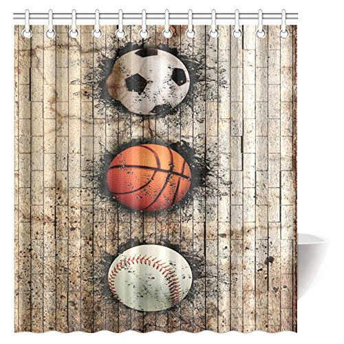 InterestPrint Sports Decor Shower Curtain, Baseball Soccer Basketball Ball Embedded in Stone Wall Fabric Bathroom Shower Curtain with Hooks, 66 X 72 Inches by InterestPrint