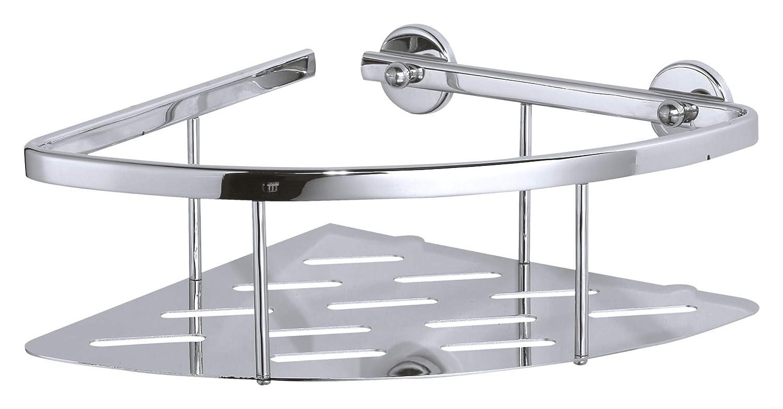 Cestino angolare per doccia tesa Aluxx, alluminio cromato lucido, autoadesivo, tecnologia adesiva di montaggio, 92mm x 250mm x 125mm 40203-00000-00