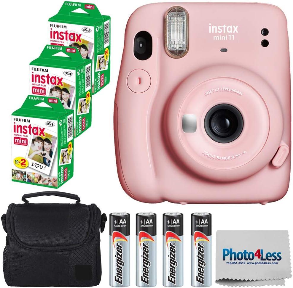 Fujifilm Instax Mini 11 Instant Camera - Blush Pink (16654774) + 3 Packs Fujifilm Instax Mini Twin Pack Instant Film (16437396) + Batteries + Case + Cloth