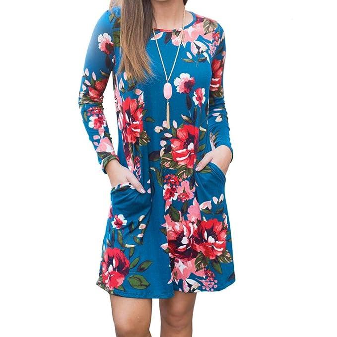 Vestidos Largos De Mujer Casuales,Moda Largo Mangas O-Cuello Floreada Diario Casuales Cómodo