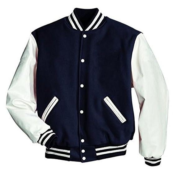 Original Windhound College Jacke navy blau mit weißen Echtleder Ärmel XXL a0e6819565