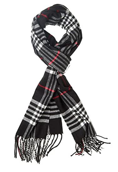 9fc4df847d153 Classic Luxurious Soft Cashmere Feel Unisex Winter Scarf in Checks and  Plaid (Black Plaid)