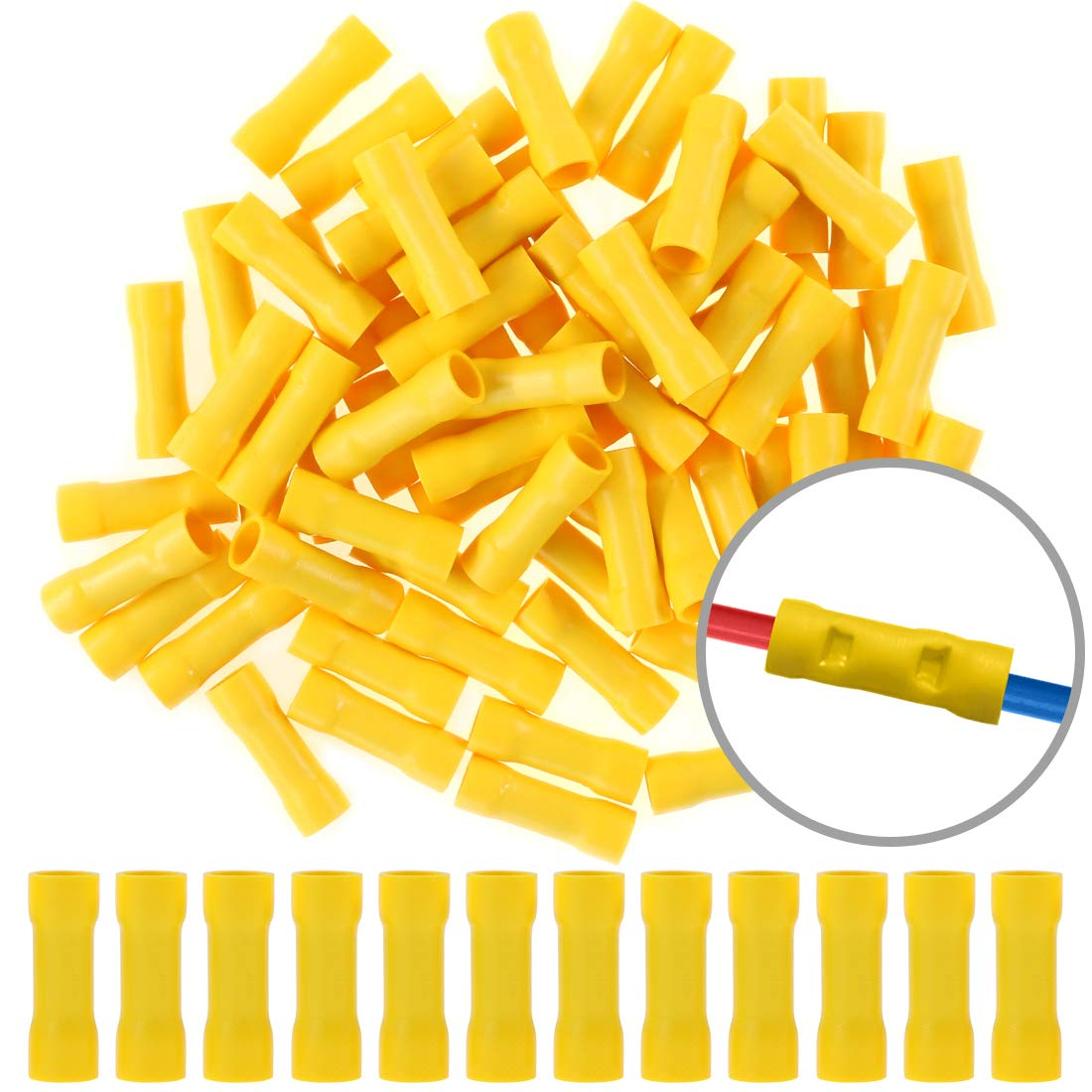 Hilitchi 100pcs 12-10 Gauge Butt Insulated Splice Terminals Electrical Wire Crimp Connectors Yellow // 12-10AWG