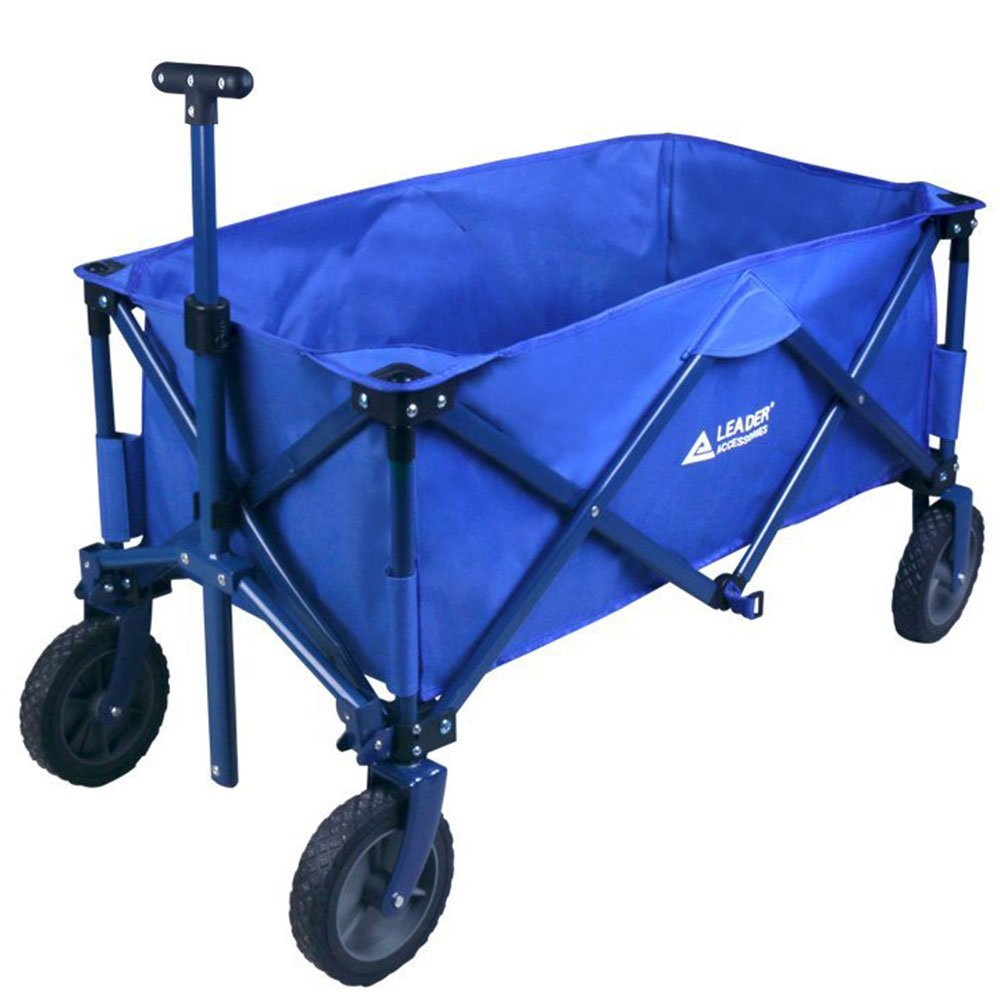 Leader Accessories Folding Outdoor Utility Wagon Collapsible Sports Beach Wagon (5 cu. ft.) - Blue