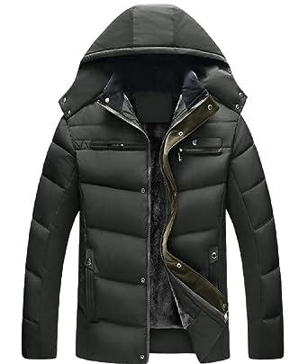 Comaba Men Hooded Zip Pockets Oversize Plus Velvet Jacket Coat