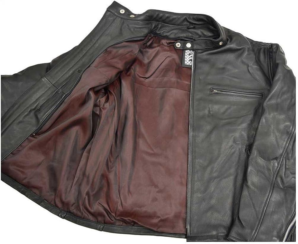 Black M-20 Redline Mens Quality Naked Cowhide Zip Front Leather Jacket
