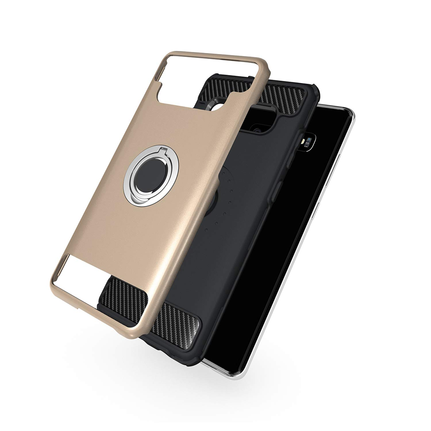 Case with Armor Dual Layer 2 in 1 with Extreme Heavy Duty Protection and Finger Ring Holder Kickstand Fit Magnetic Car Mount for Galaxy S10 Plus-Black Newseego Compatible with Samsung Galaxy S10