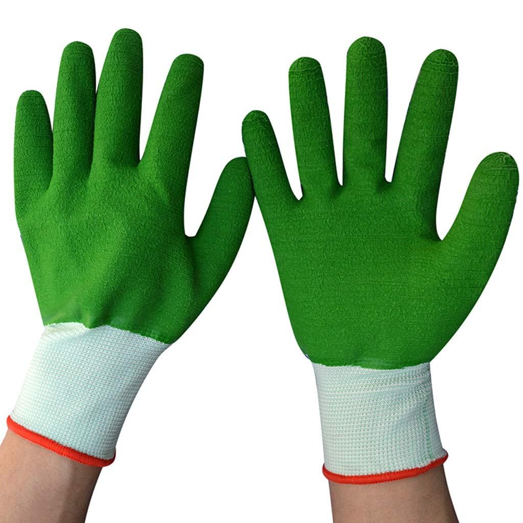 RYYAIYL Industrial Gloves High Temperature Resistant Non-Slip Silicone Garden Gloves Coated Gardening and Work Gloves(Green 12 Pairs) by RYYAIYL