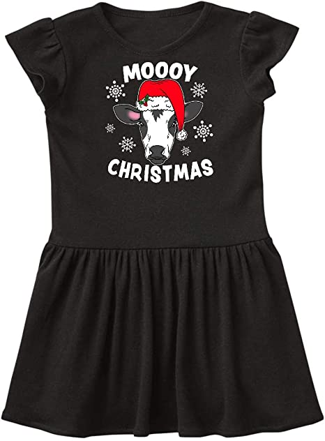 inktastic Moooy Christmas with Cute Holstein Cow and Snowflakes Baby T-Shirt