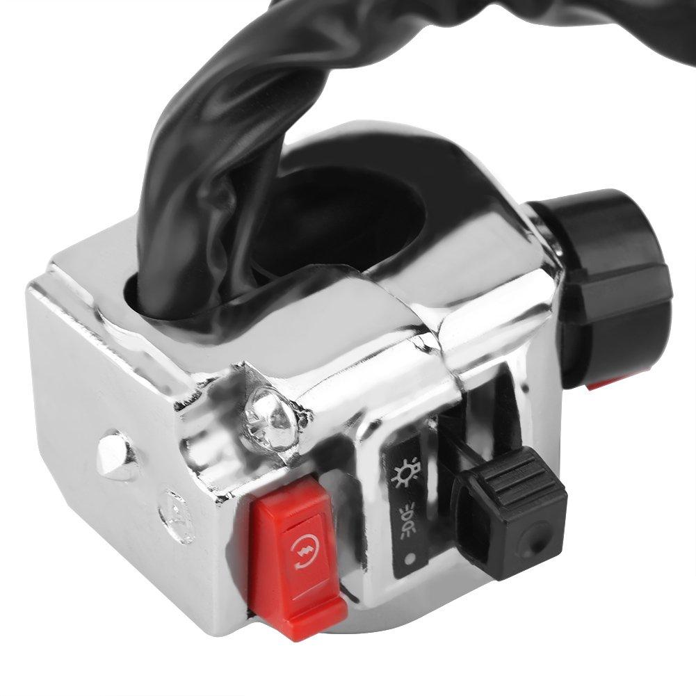 Arranques del Motor y Interruptor de bocina ON//Off KIMISS 2 x Interruptors de Control de Se/ñal de Giro del Faro de la Manilla de la Motocicleta
