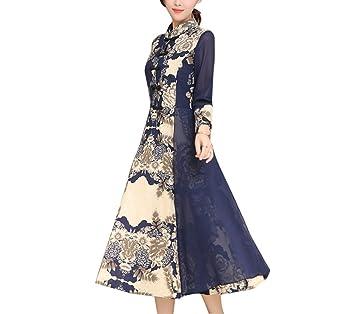 DDEESS Vestido De Mujer Vintage Empalme Imprimir Primavera Verano Slim Elegante Fiesta De Trabajo Cheongsam,