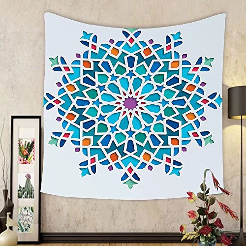 Gzhihine Custom tapestry Arabian Decor Tapestry Different Islamic Ornate Mosaic Patterns Historical Lines Heritage Culture Print Bedroom Living Room Dorm Decor 60 x 80 Blue Orange White by Gzhihine