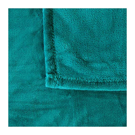 "Exclusivo Mezcla Luxury Flannel Velvet Plush Throw Blanket – 50"" x 60"" (Teal) - 280GSM FLANNEL FLEECE- The flannel fabric we choose is originally made from 100% microfiber polyester and brushed to create extra softness on both sides, the throw is designed to be simple but elegant. DURABILITY- The throw we offered is designed to be simple but elegant, this plush throw is super soft, durable, warm and lightweight. It's wrinkle and fade resistant, doesn't shed, and is suitable for all seasons. DECORATIVE- Throw features a velvet touch softness and rich and inviting designs, featuring a double-faced plush with graceful luster. Easily coordinates or enhances existing bedding or home décor. - blankets-throws, bedroom-sheets-comforters, bedroom - 61gCK0CggGL. SS570  -"