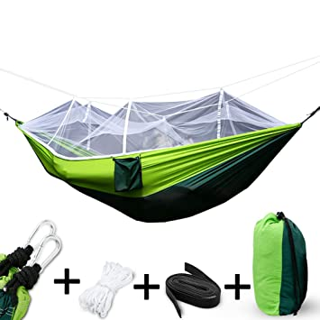 camping hammock with mosquito net2 person hammock lightweight parachute travel bed fabric double hammock