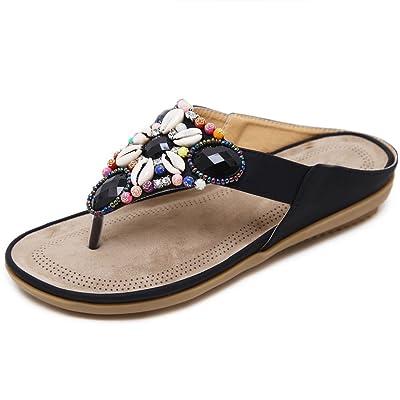 Onfly new Nouveaux sandales de femmes d'été bohème sandales perlées sandales mode intérieure et extérieure anti-dérapant peignoirs pantoufles XIAOQI eu size
