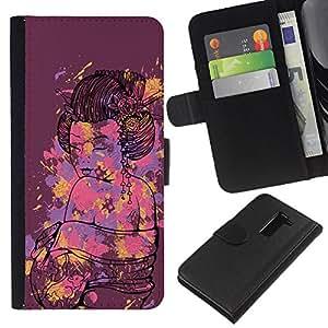 KLONGSHOP // Tirón de la caja Cartera de cuero con ranuras para tarjetas - Geisha Mujer japonesa Splash Arte - LG G2 D800 //