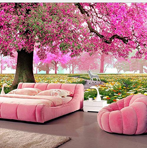 Cheap  Lifme Custom Any Size 3D Romantic Pink Woods Mural Home Decor Wall..