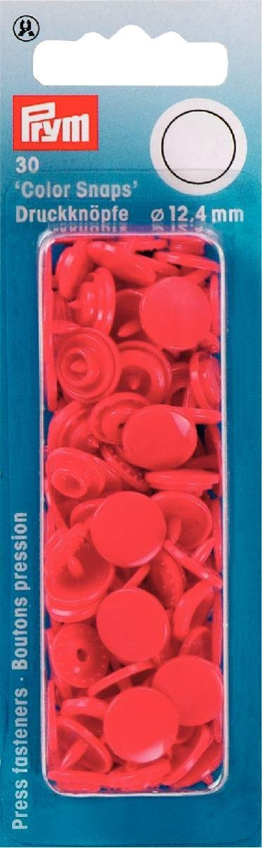 Prym Colour Snaps, Round 12mm x 30 sets - Red