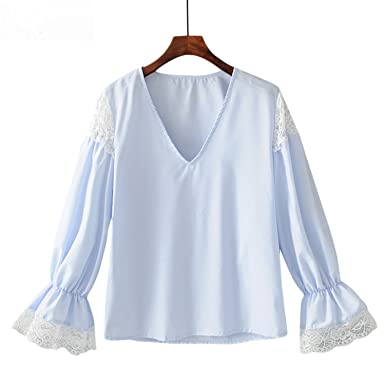 563431eb00 Feilongzaitianba Flare Long Sleeve Solid Vintage Lace Patchwork V Neck Women  Ruffle Blouses Shirts Women Casual Tops at Amazon Women's Clothing store: