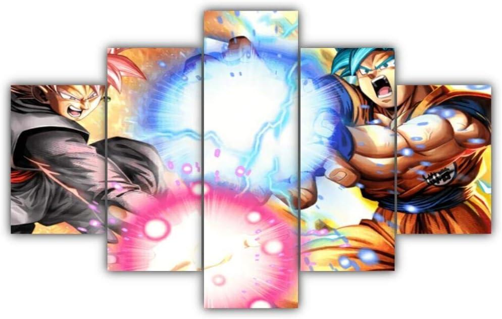 Cuadros Modernos Impresión De Imagen Artística Digitalizada   Lienzo Decorativo para Tu Salón O Dormitorio   Goku Vs Black Goku   5 Piezas 150X80Cm