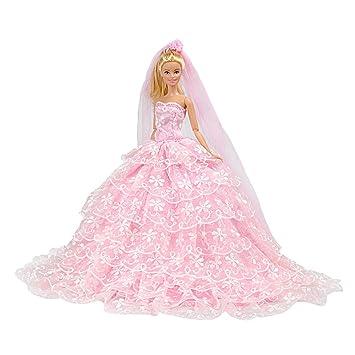 E-TING principessa bambola vestito Barbie vestiti Cenerentola sera Party +  velo impostato per Barbie 54f77ae3183