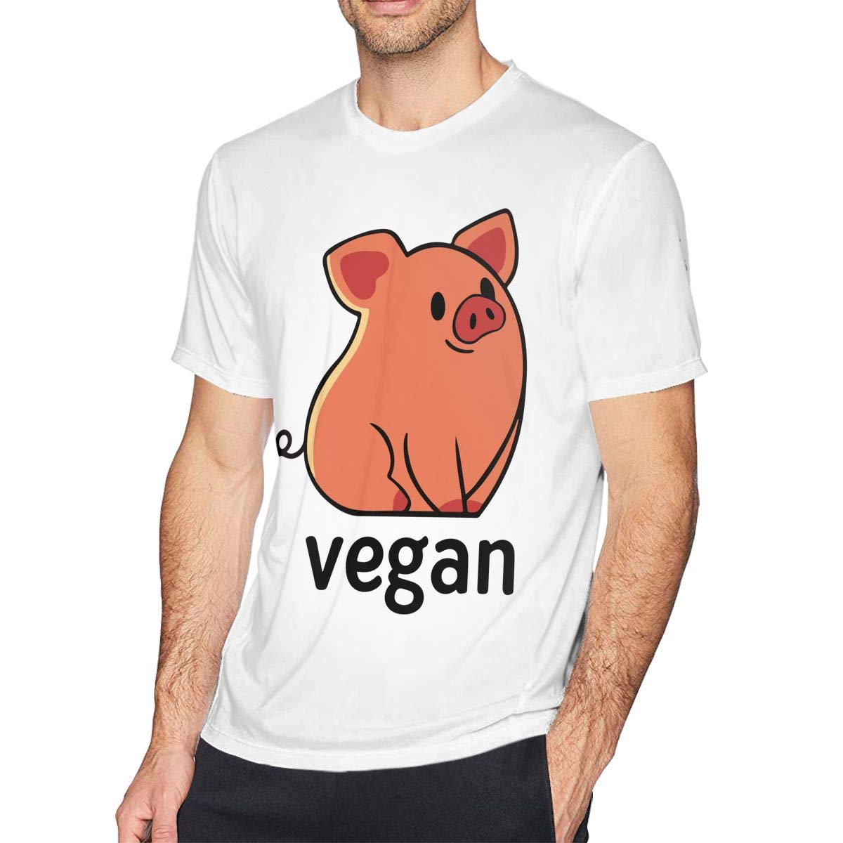 Mens Vegan Pig Short Sleeve T-Shirt Basal Shirt for Exercising