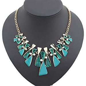 ARICO Crystal Multi Layer Necklace Gold Enamel Choker Necklace Vintage Statement Necklace NE284