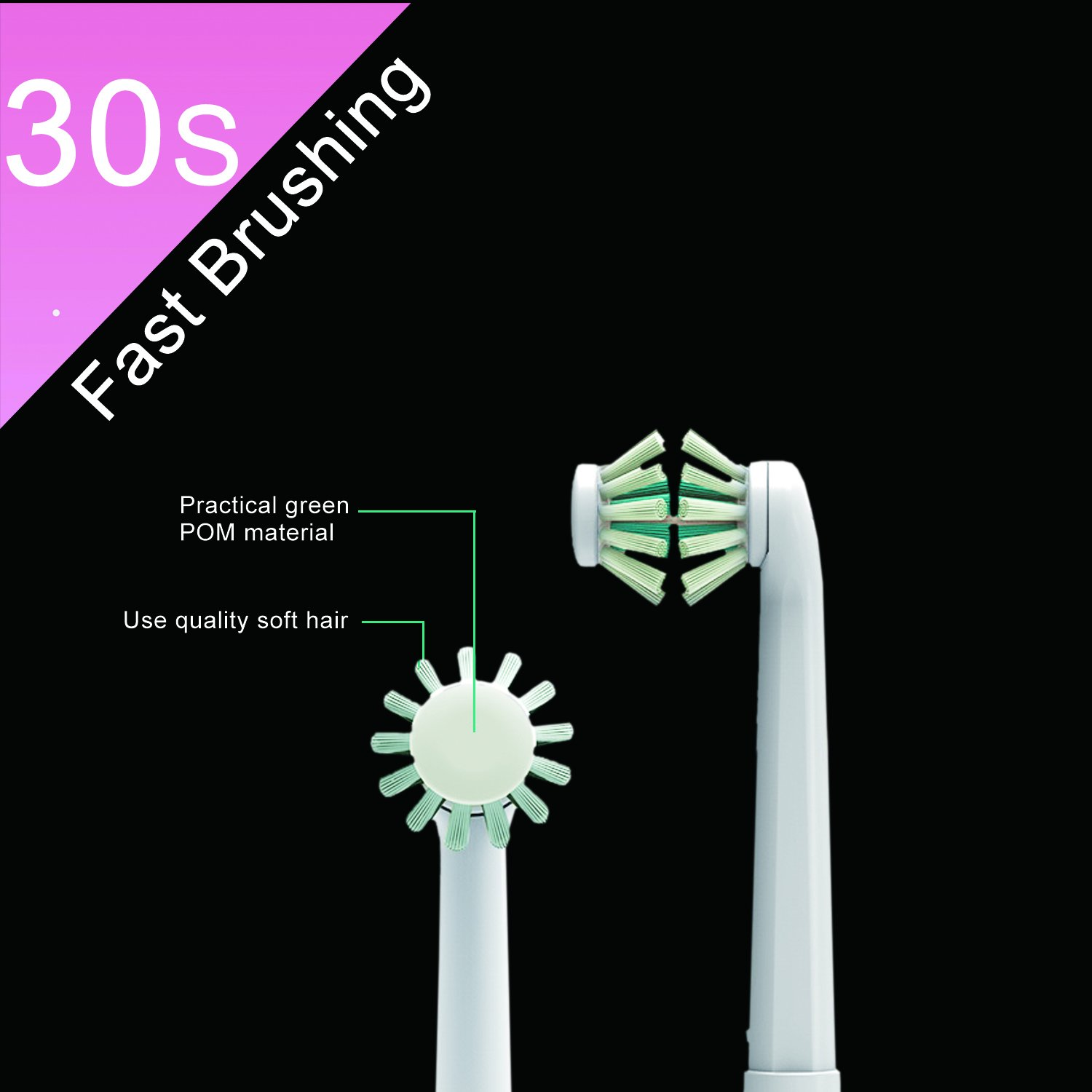 Electric toothbrush kids,NeWisdom 360° rotating 30s FAST brushing Rechargeable WIRELESS CHARGING Electric Toothbrush for Children,4 hours charging,30 days working (Wireless Charge Pink 9-14) by NeWisdom (Image #4)