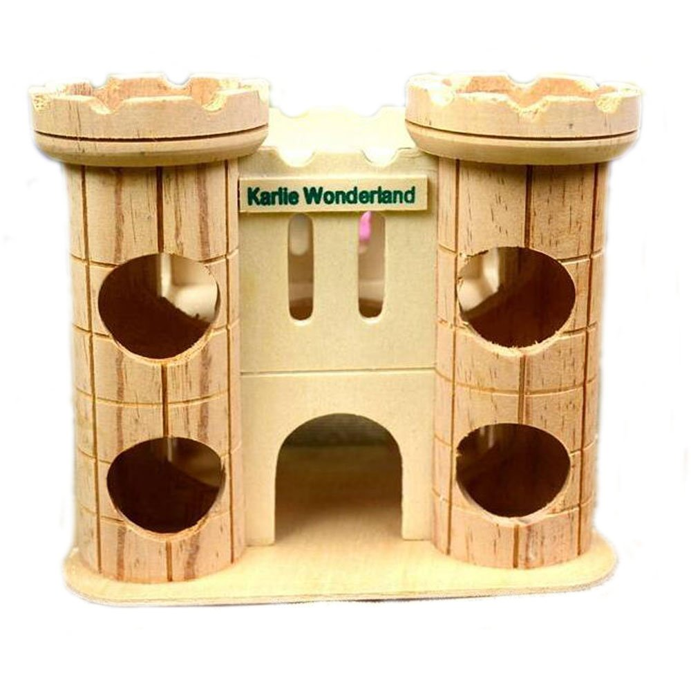 Dwarf Hamster House Durable Odorless Non-Toxic Deluxe Two Layers Wooden Hut for Hamster Toys Hamster House Natural Living Wooden Castle, Small Animal Playground Chew Toy